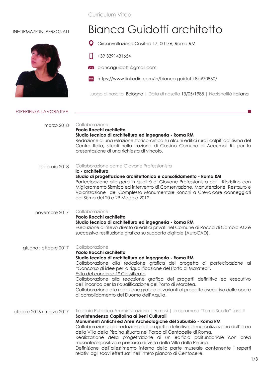 Cv Guidotti Bianca 2018 By 13biancaful Issuu