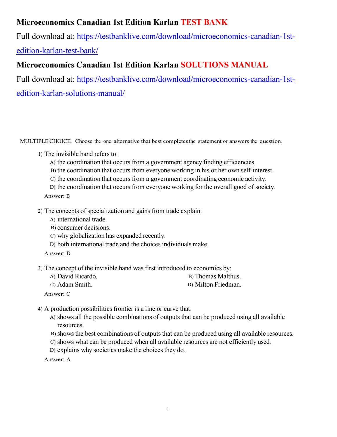 Microeconomics canadian 1st edition karlan test bank by ...