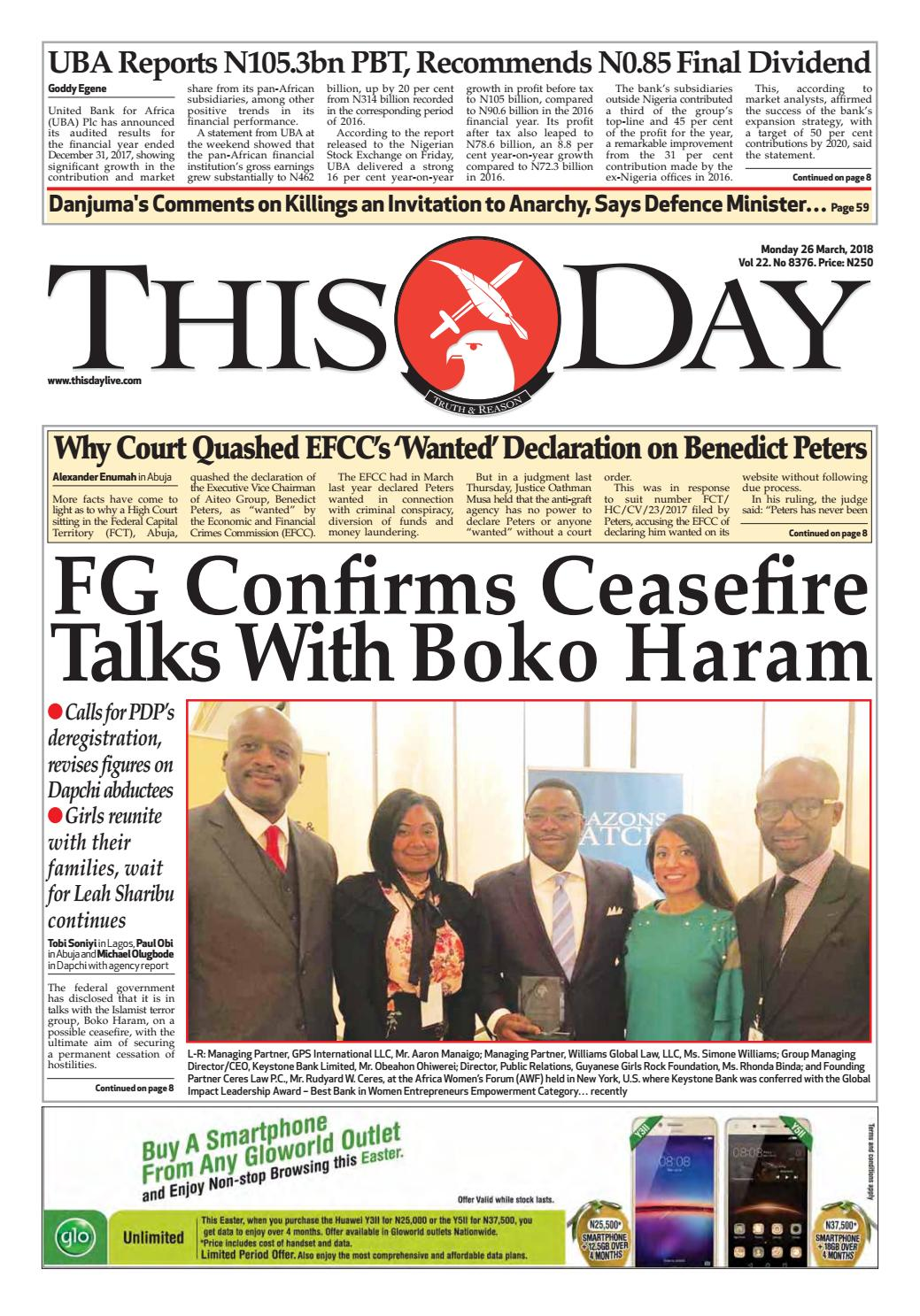 Monday 26th March 2018 By THISDAY Newspapers Ltd Issuu