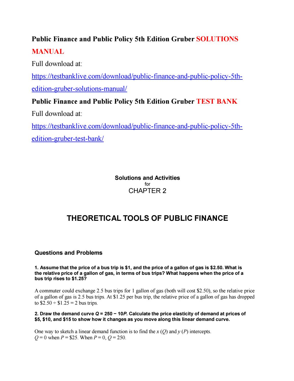 public finance and public policy 5th edition gruber solutions manual rh issuu com Finance Procedures Finance Book