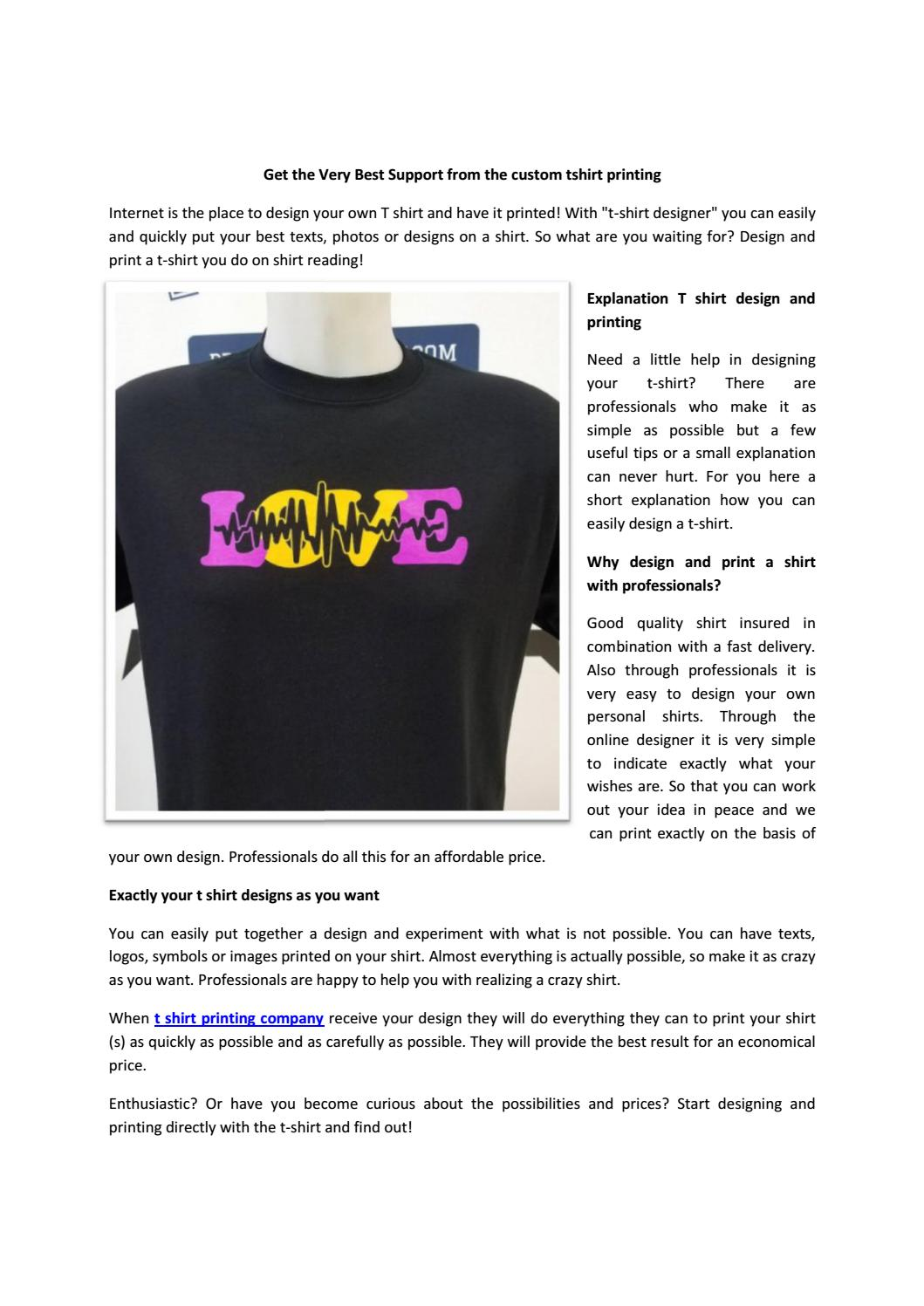 fbe7ece3 Get the very best support from the custom tshirt printing by T-Shirt  Printing Company - issuu