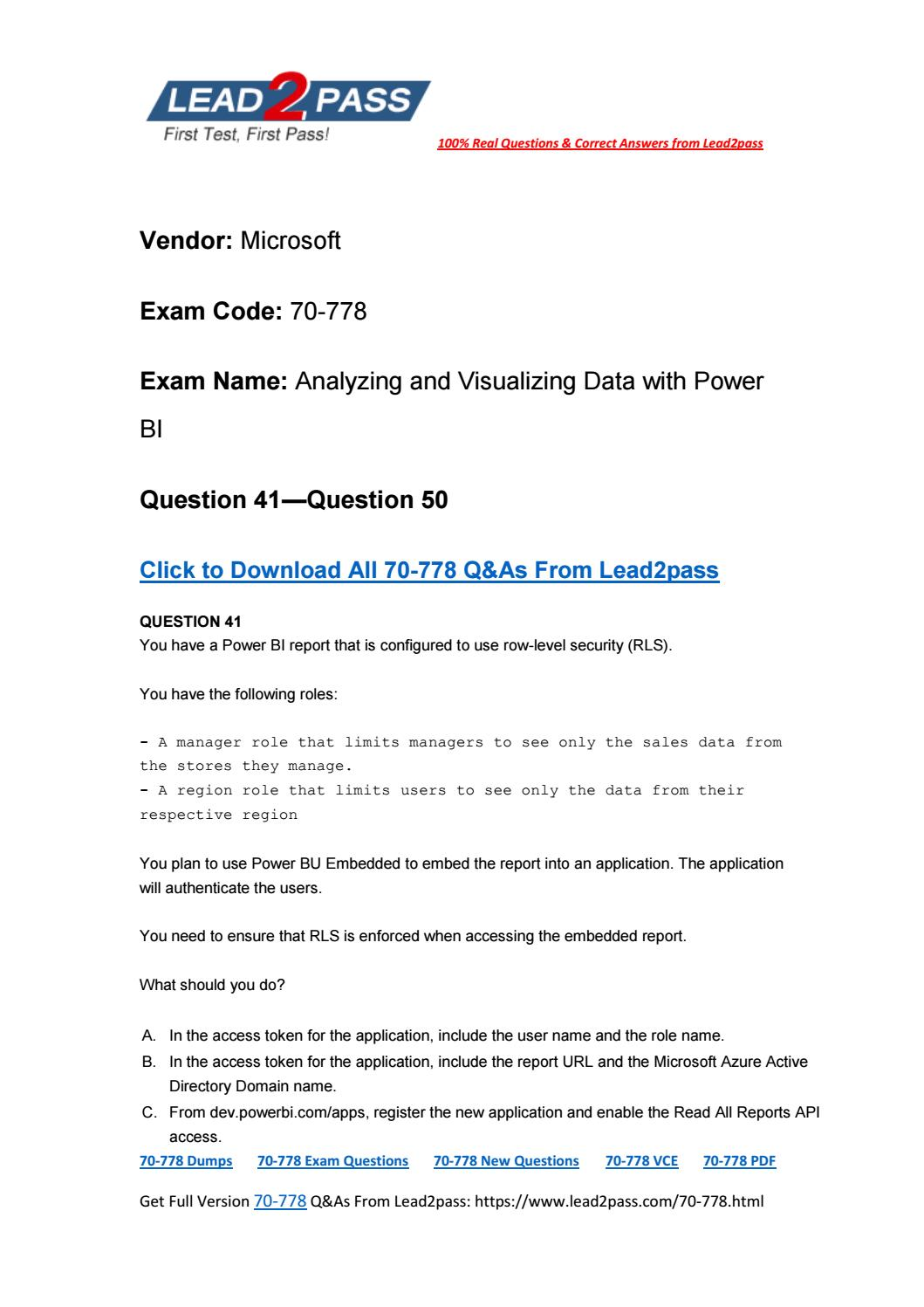 Free Download Of Lead2pass 70-778 Real Exam Questions (41-50