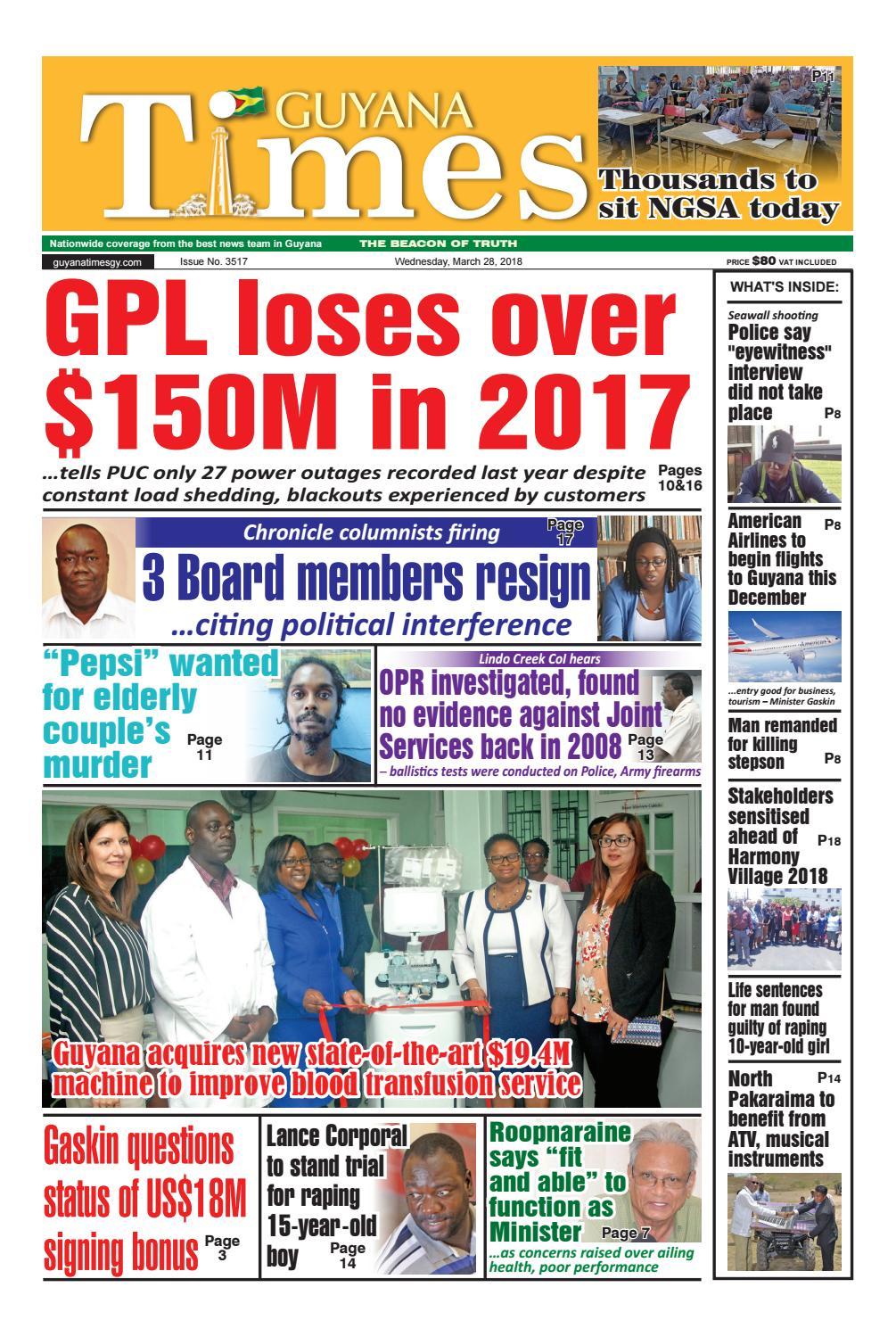 Guyanatime 28 march 2018 by Gytimes - issuu