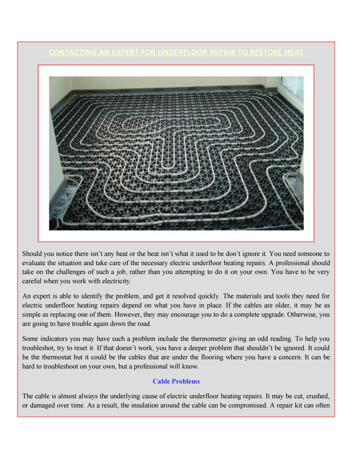 Contacting An Expert For Underfloor Repair To Restore Heat By Dkp