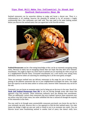 Tips That Will Make You Influential In Steak And Seafood Restaurants