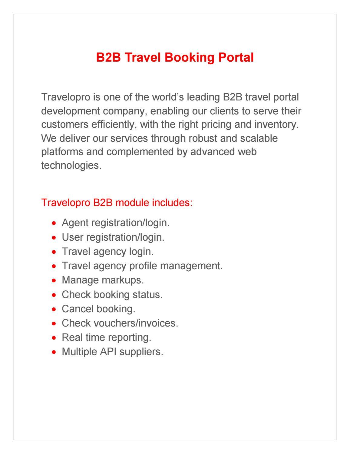 B2B Travel Booking Portal by anutrawex123 - issuu