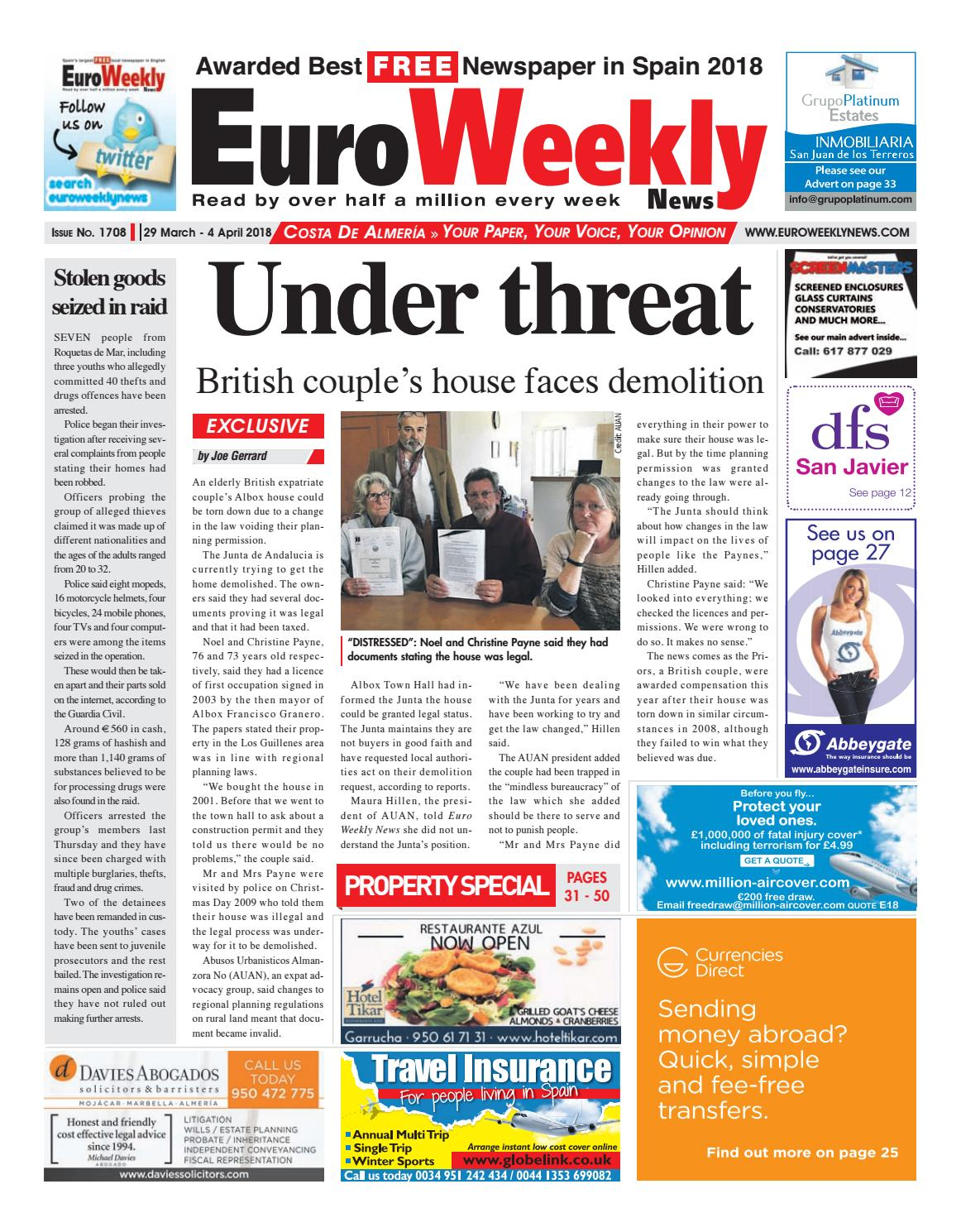 Euro Weekly News - Costa de Almeria 29 March - 4 April 2018 Issue 1708 by  Euro Weekly News Media S.A. - issuu