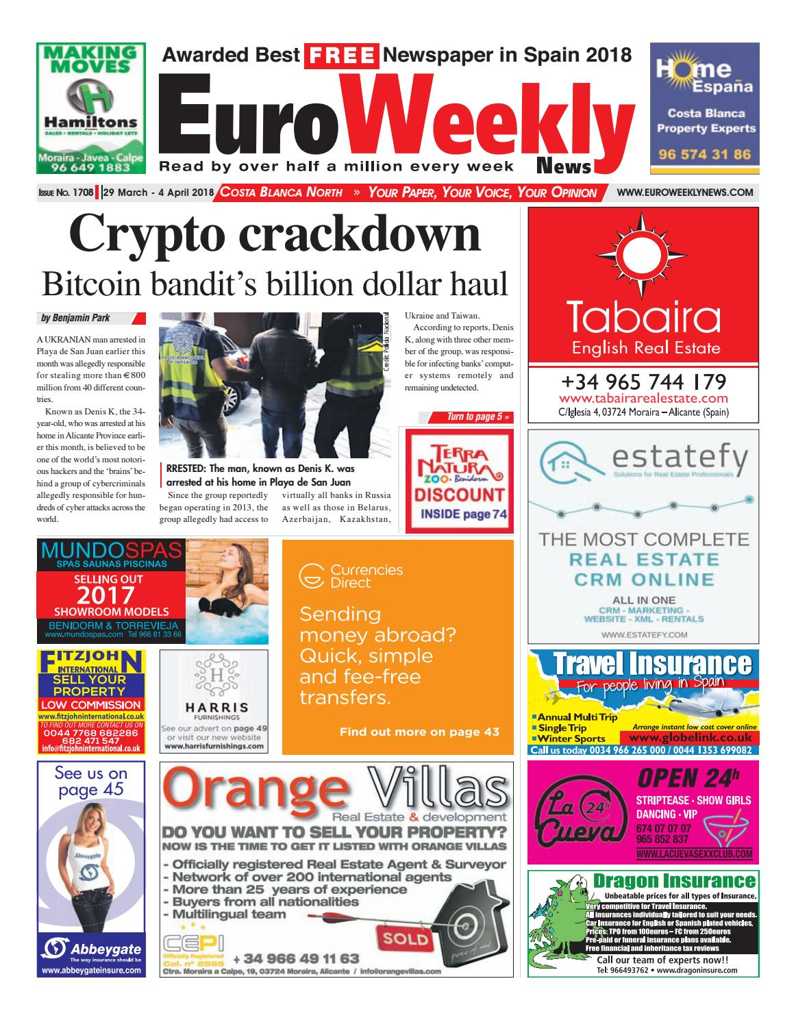 b77f156718b9d Euro Weekly News - Costa Blanca North 29 March - 4 April 2018 Issue 1708 by  Euro Weekly News Media S.A. - issuu