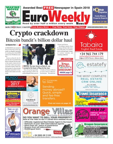 Euro weekly news costa blanca north 29 march 4 april 2018 issue page 1 fandeluxe Gallery