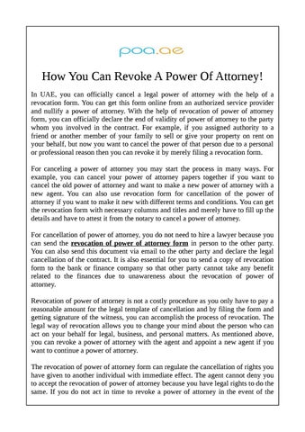 How You Can Revoke A Power Of Attorney By Poa Dubai Issuu
