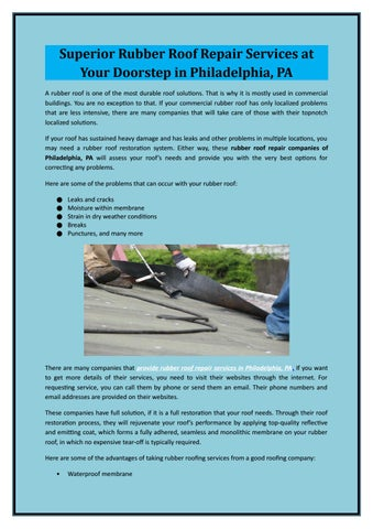 Superior Rubber Roof Repair Services at Your Doorstep in Philadelphia PA A rubber roof is one of the most durable roof solutions.  sc 1 st  Issuu & Superior Rubber Roof Repair Services at Your Doorstep in ...