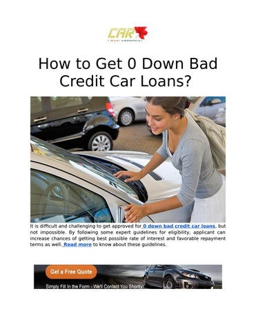 Get Zero Down Payment Car Loan Online By Carloanapproval Issuu