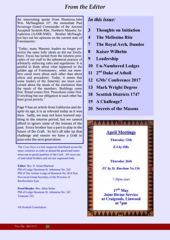 Cross Keys April 2018 (Freemasonry) by Neil Grant Macleod - issuu