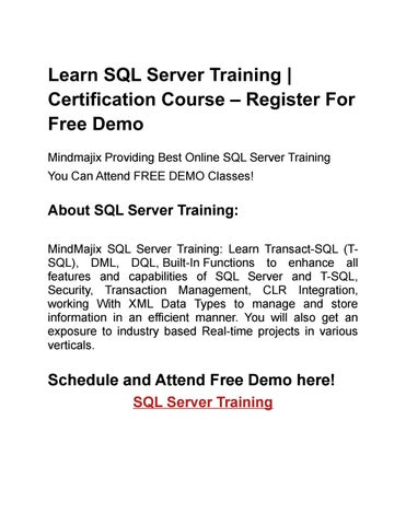sql server training and certification course online by amar.appmajix ...