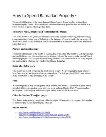 How to spend Ramadan properly? by Malik - issuu