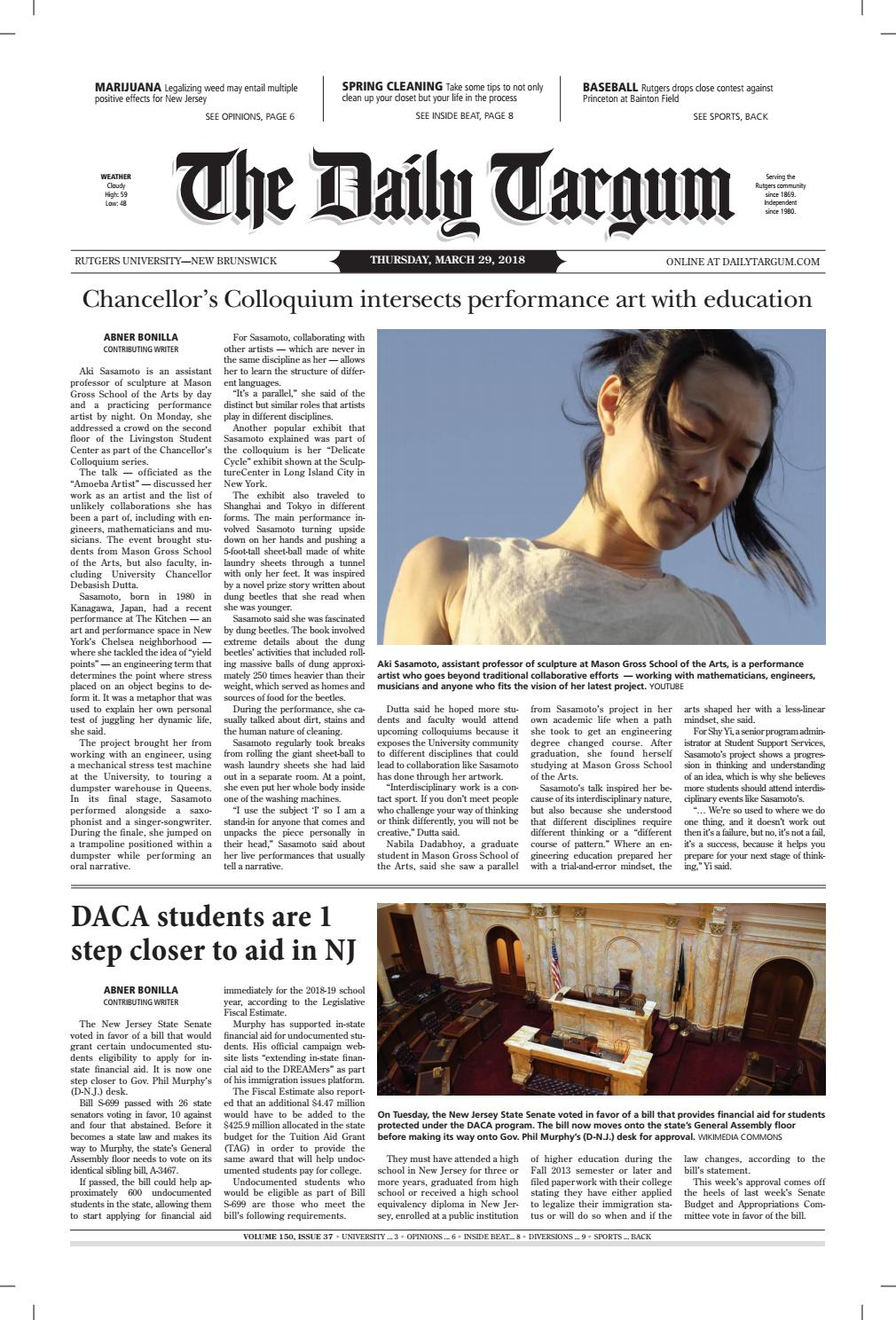4eb249c12117 Daily Targum 3.29.18 by The Daily Targum - issuu