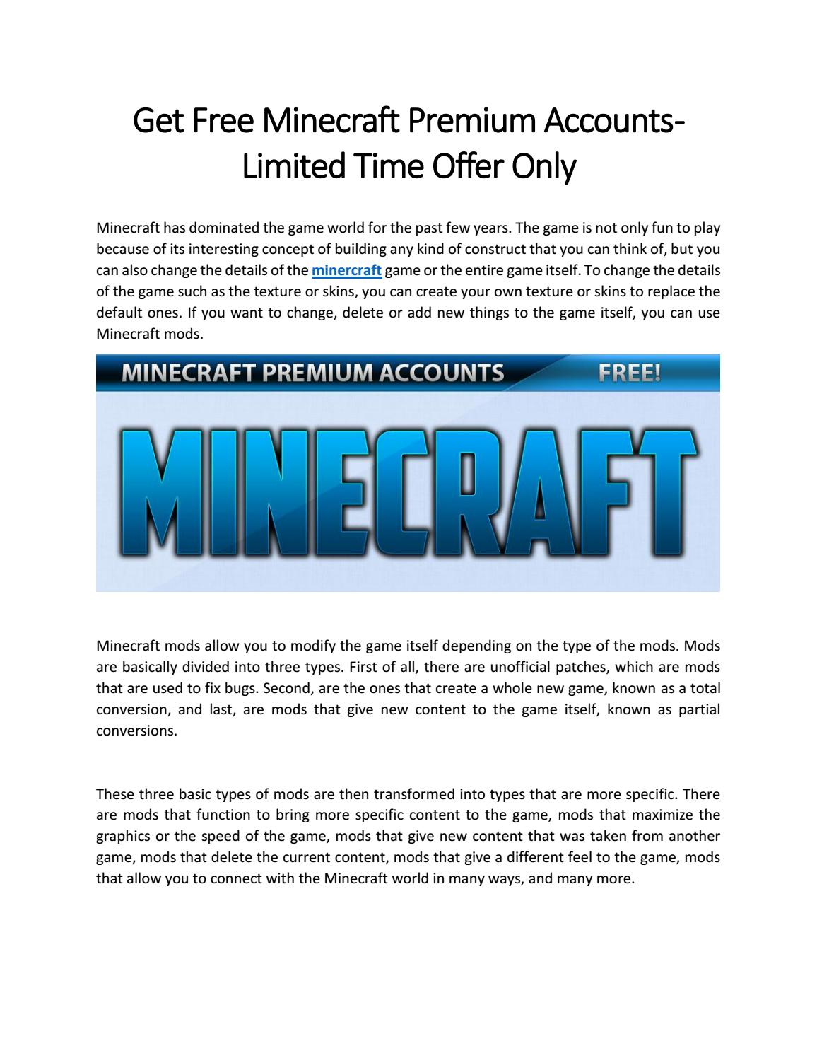 Get Free Minecraft Premium Accounts - Limited Time Offer