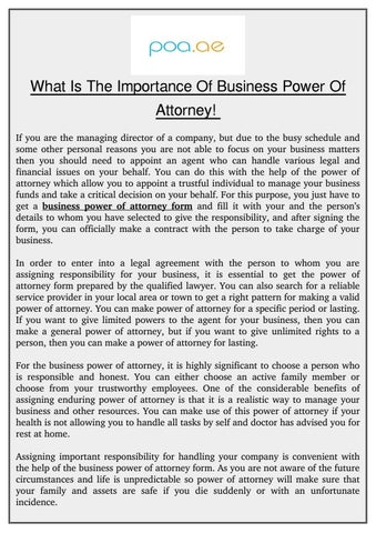 what is the importance of business power of attorney if you are the managing director of a company but due to the busy schedule and some other personal