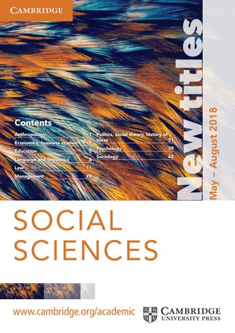 Social Sciences Summer Catalogue 2018 By Cambridge University Press