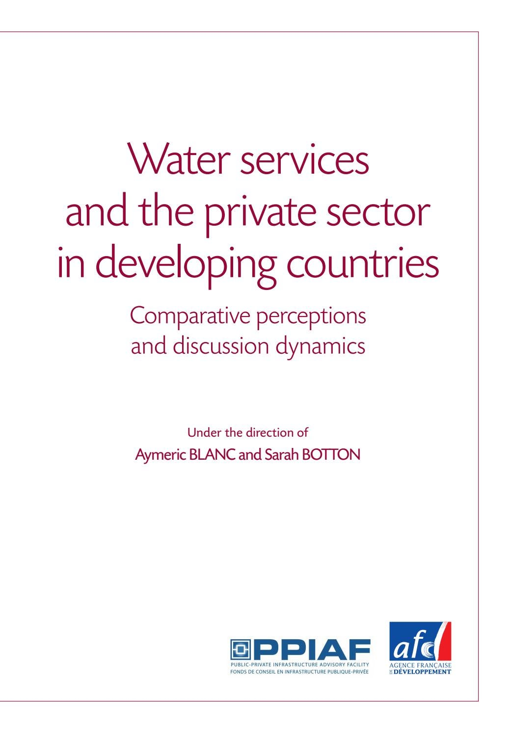 Water Services And The Private Sector In Developing Countries By Rain Sound Effect Generator 4060 Agence Franaise De Dveloppement Issuu
