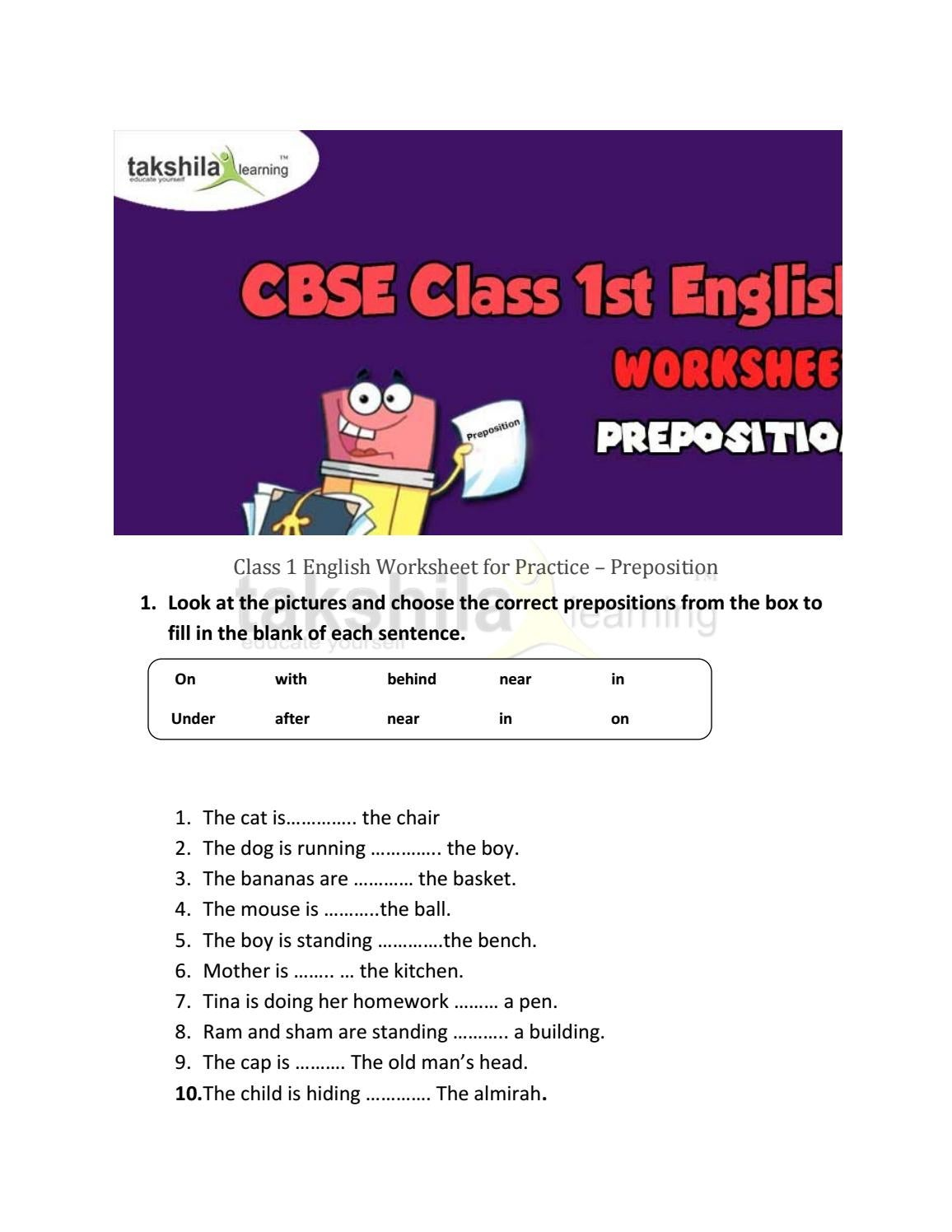 - Class 1 English Worksheet For Practice Preposition By Takshila