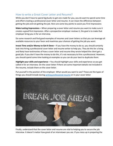 How To Write A Great Cover Letter And Resume 1