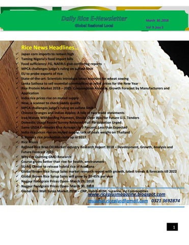30th march, 2018 daily global regional local rice e newsletter by