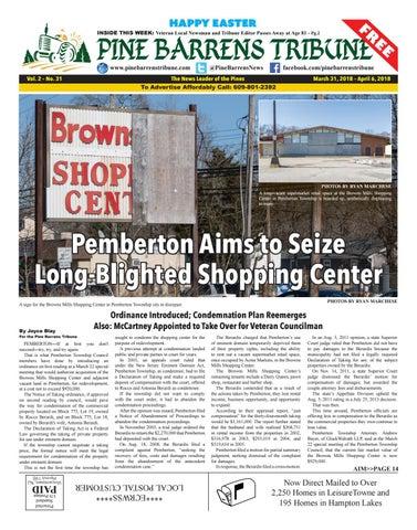 March 31, 2018 Pine Barrens Tribune by Pine Barrens Tribune