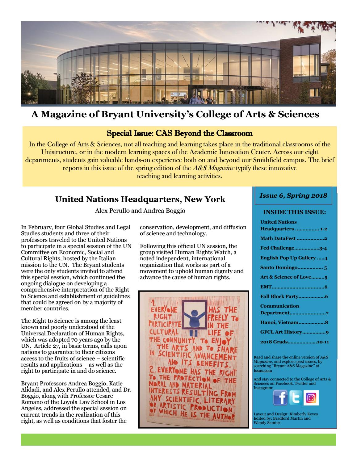 Bryant University CAS Magazine Spring 2018 by Bryant University A&S