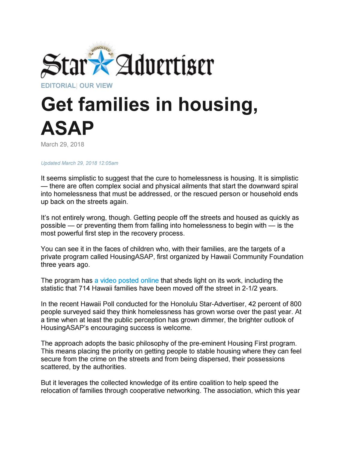 Housing ASAP Editorial 03/29/2018 by Hawaii Community
