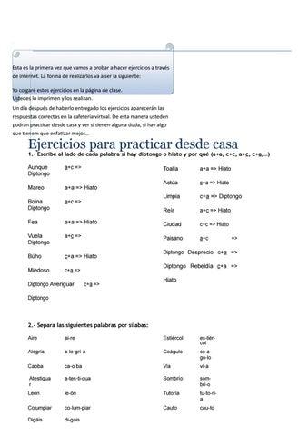 Ejercicios Para Practicar Desde Casa Diptongos E Hiatos Corregidos By Luilly Ortega Issuu