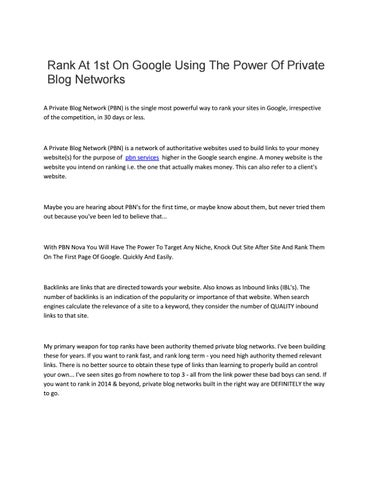 Rank at 1st on google using the power of private blog