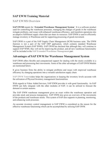 SAP EWM Tutorial PDF by Rajni Dubey - issuu