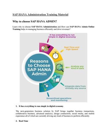 SAP HANA Administration Tutorial PDF by Rajni Dubey - issuu