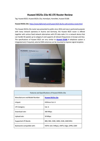 Huawei B525s-23a 4G LTE Router Review by Lte Mall - issuu