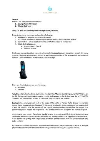 Villa Entertainment Unit Remote Controls & Channel Listings by Villa