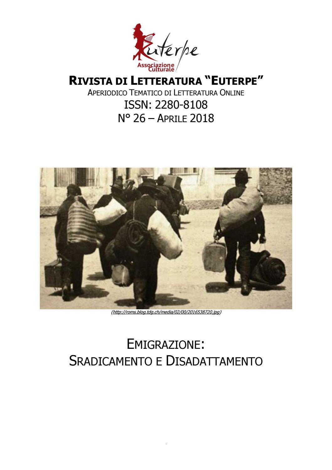 Euterpe N 26 Aprile 2018 Emigrazione Sradicamento E Disadattamento
