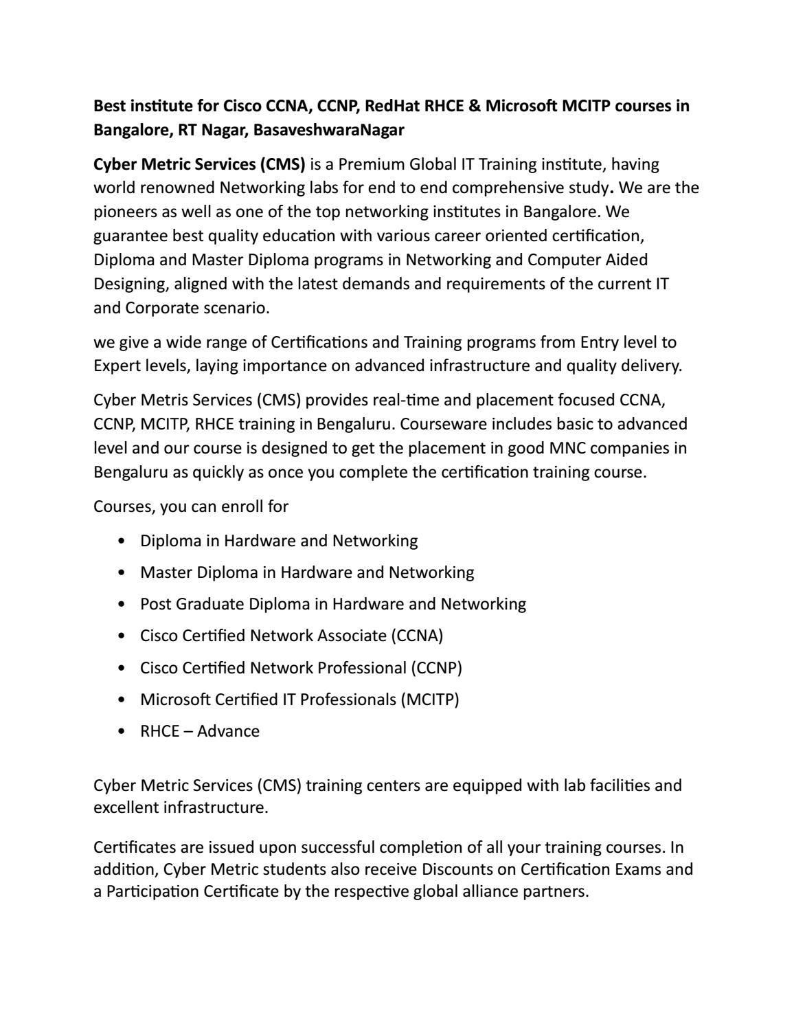 Best Institute For Cisco Ccna Ccnp Redhat Rhce Microsoft Mcitp