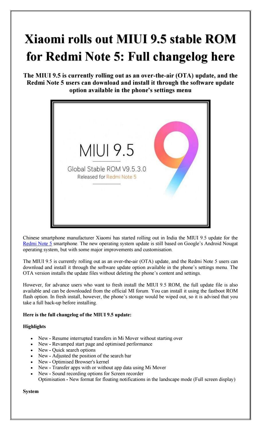 Xiaomi rolls out miui 9 5 stable rom for redmi note 5 full