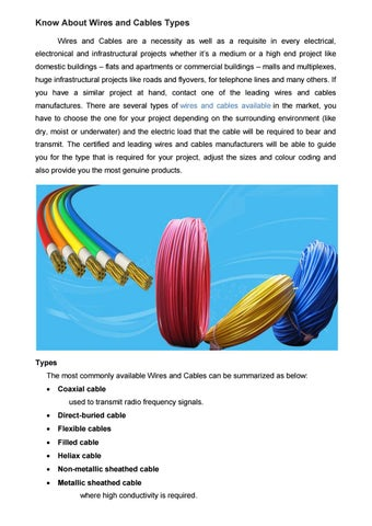 Know About Wires and Cables Types by Ultracab - issuu on