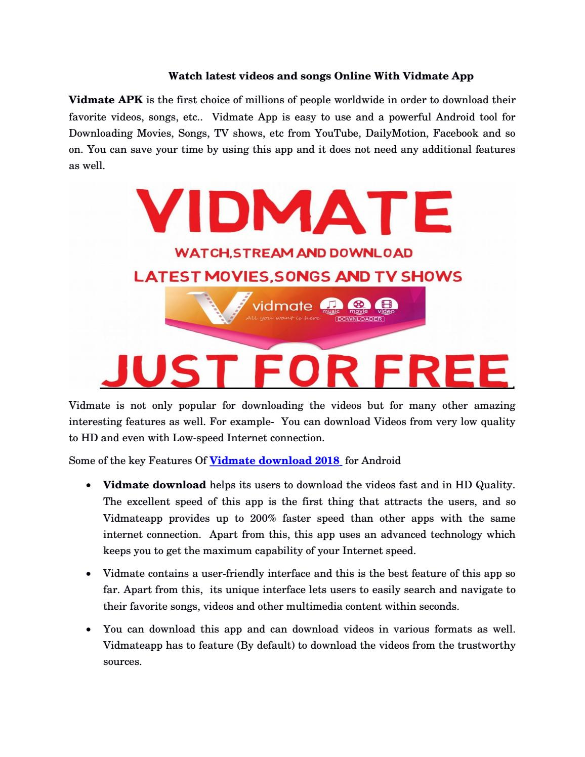 Watch latest videos and songs online with vidmate app by
