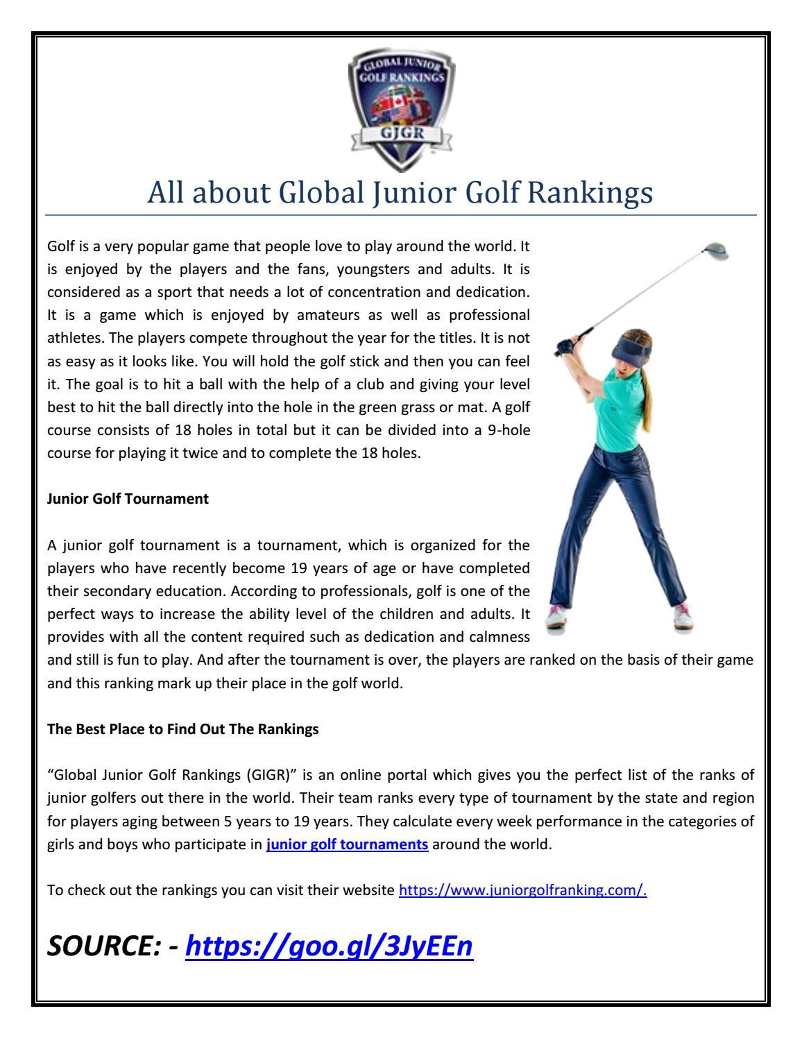 All About Global Junior Golf Rankings By Digital Marketing Issuu