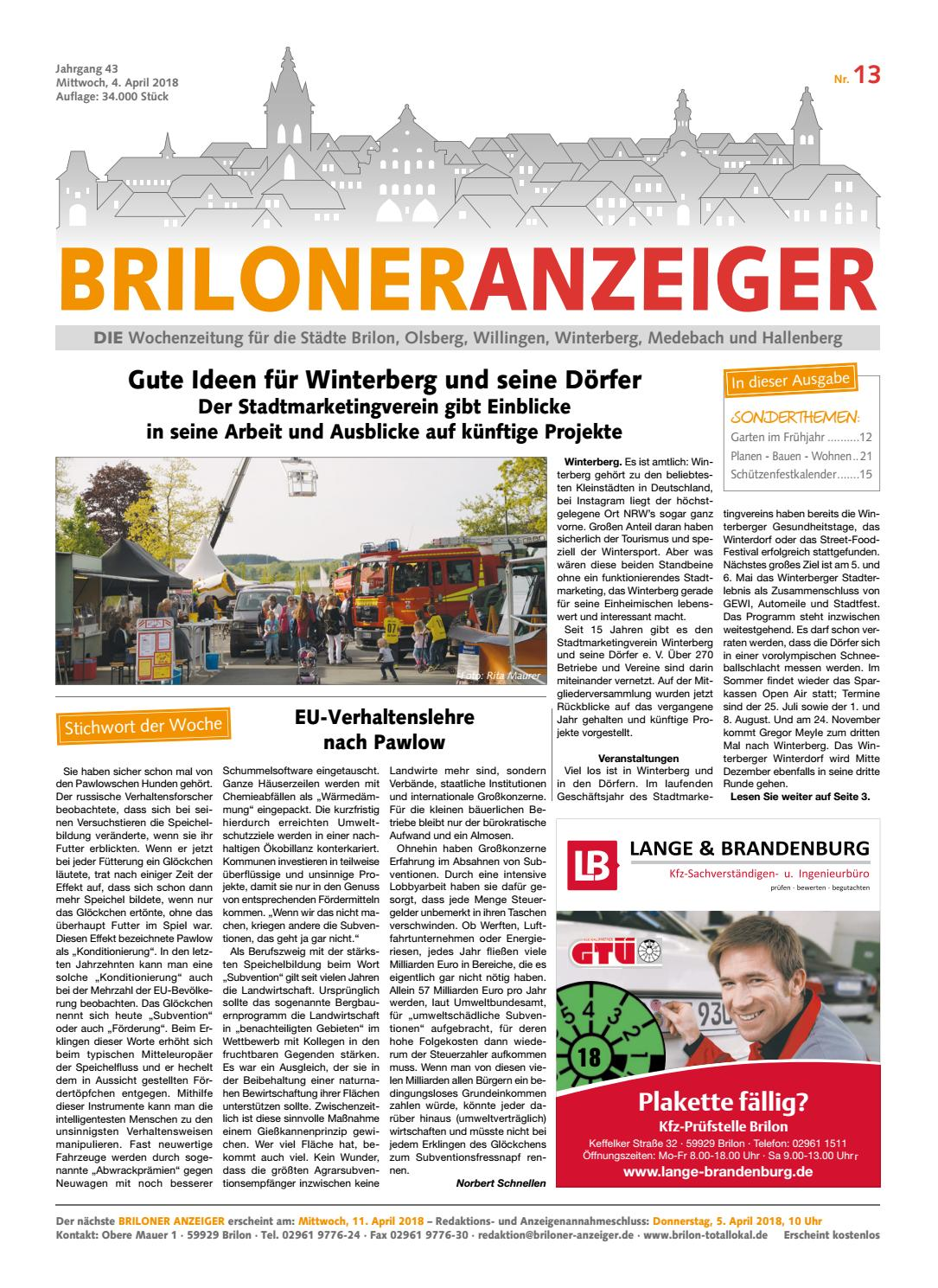 Briloner Anzeiger Ausgabe vom 04.04.2018 Nr.13 by Brilon-totallokal ...