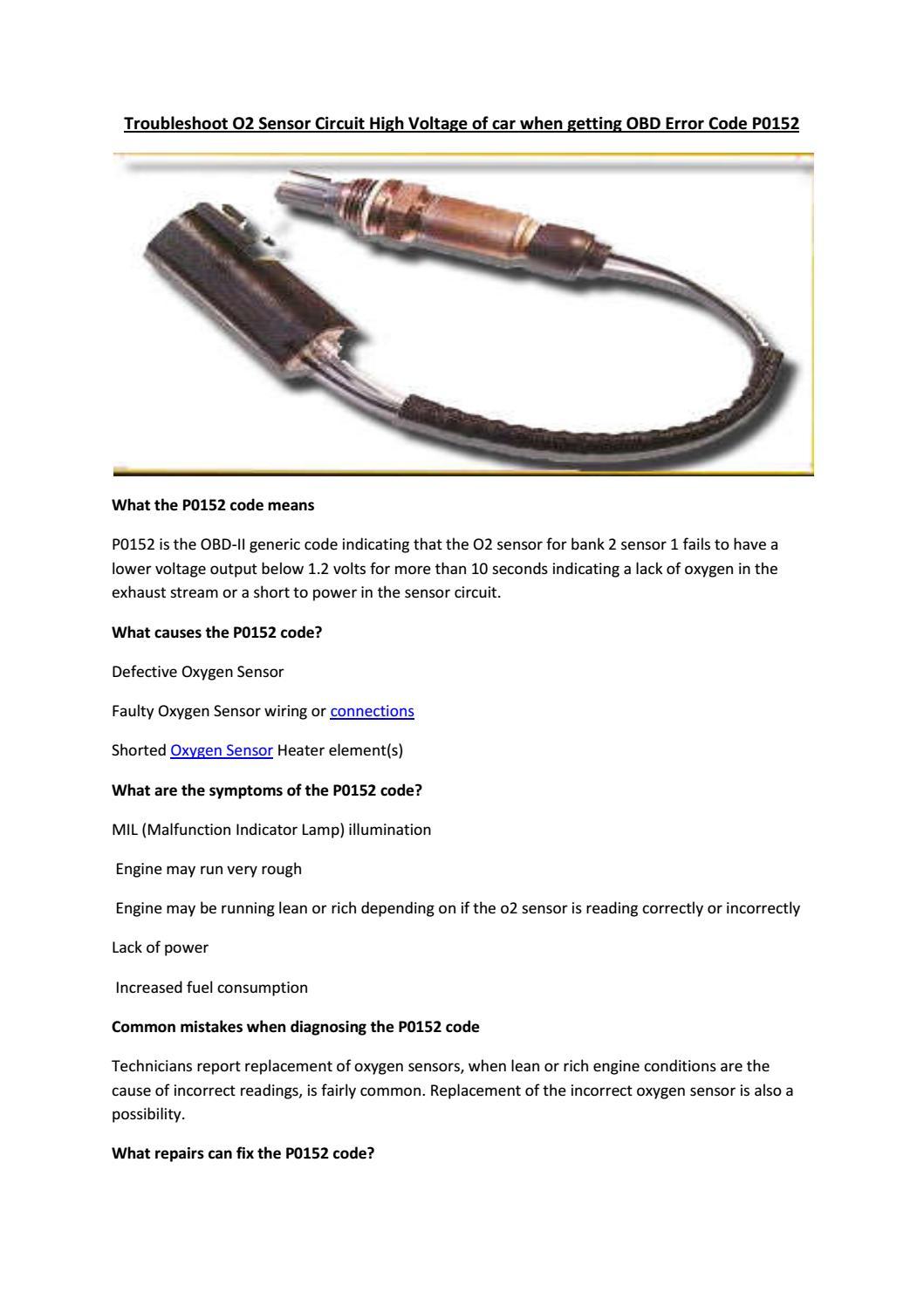 Partsavatar Auto Parts Canada Troubleshoot O2 Sensor Circuit High Oxygen Schematic Voltage By Tr Issuu