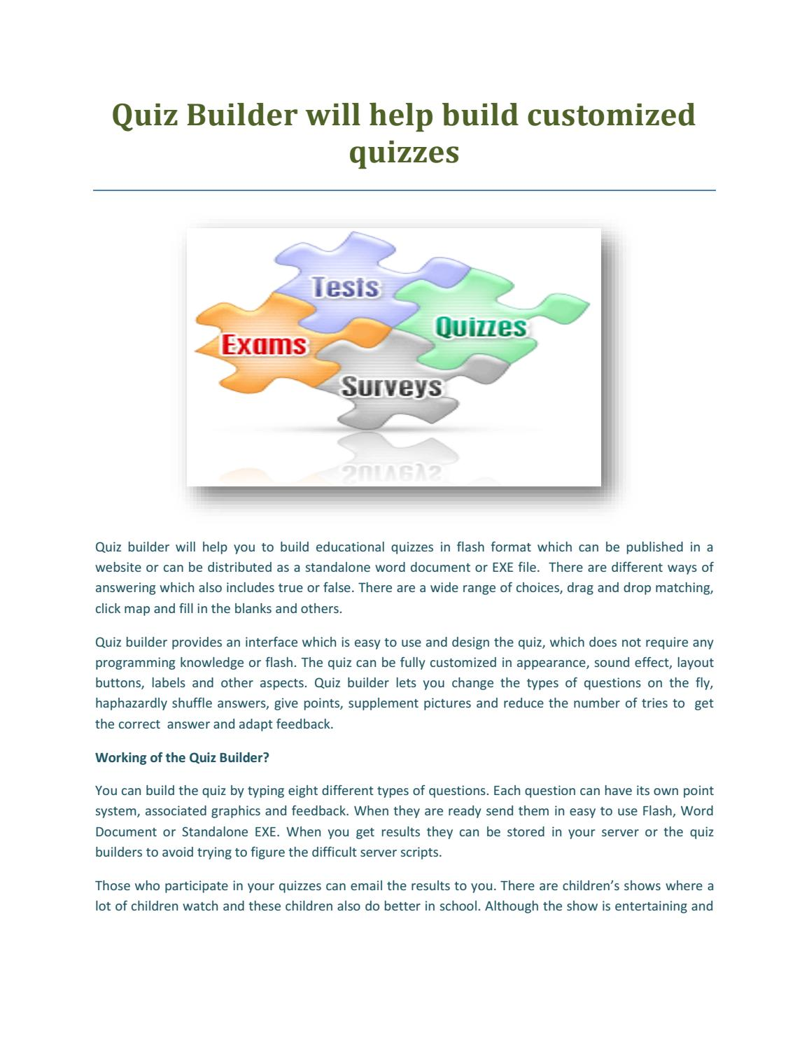 Quiz builder will help build customized quizzes by QuestBase
