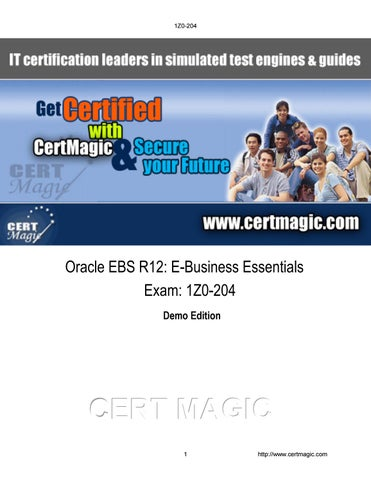 Exam 1Z0-204 Oracle EBS R12: E-Business Essentials by olivia jayden