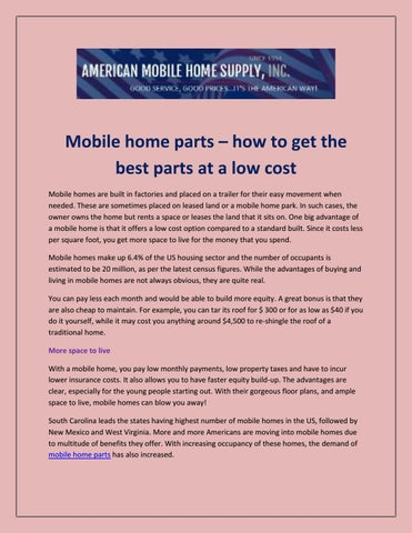 Mobile home parts by mobilehomeproducts issuu mobile home parts x20acx201c how to get the best parts at a low cost mobile homes are built in factories and placed on a trailer for their easy solutioingenieria Choice Image