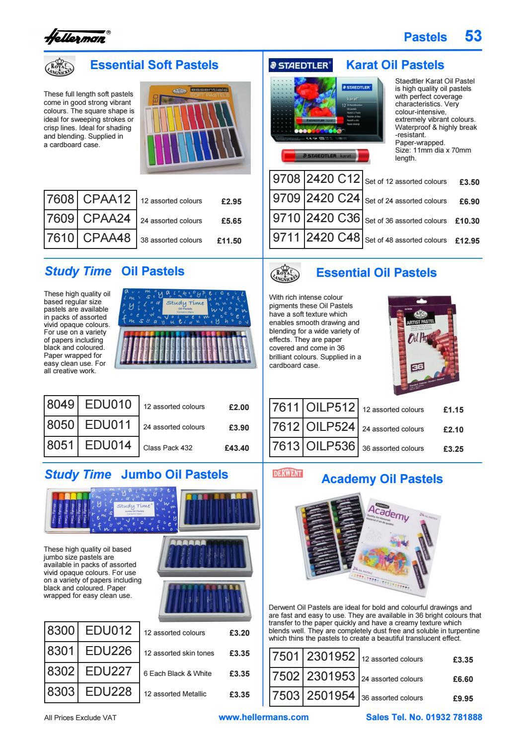 Pack of 12 Metallic Study Time Jumbo Oil Pastels