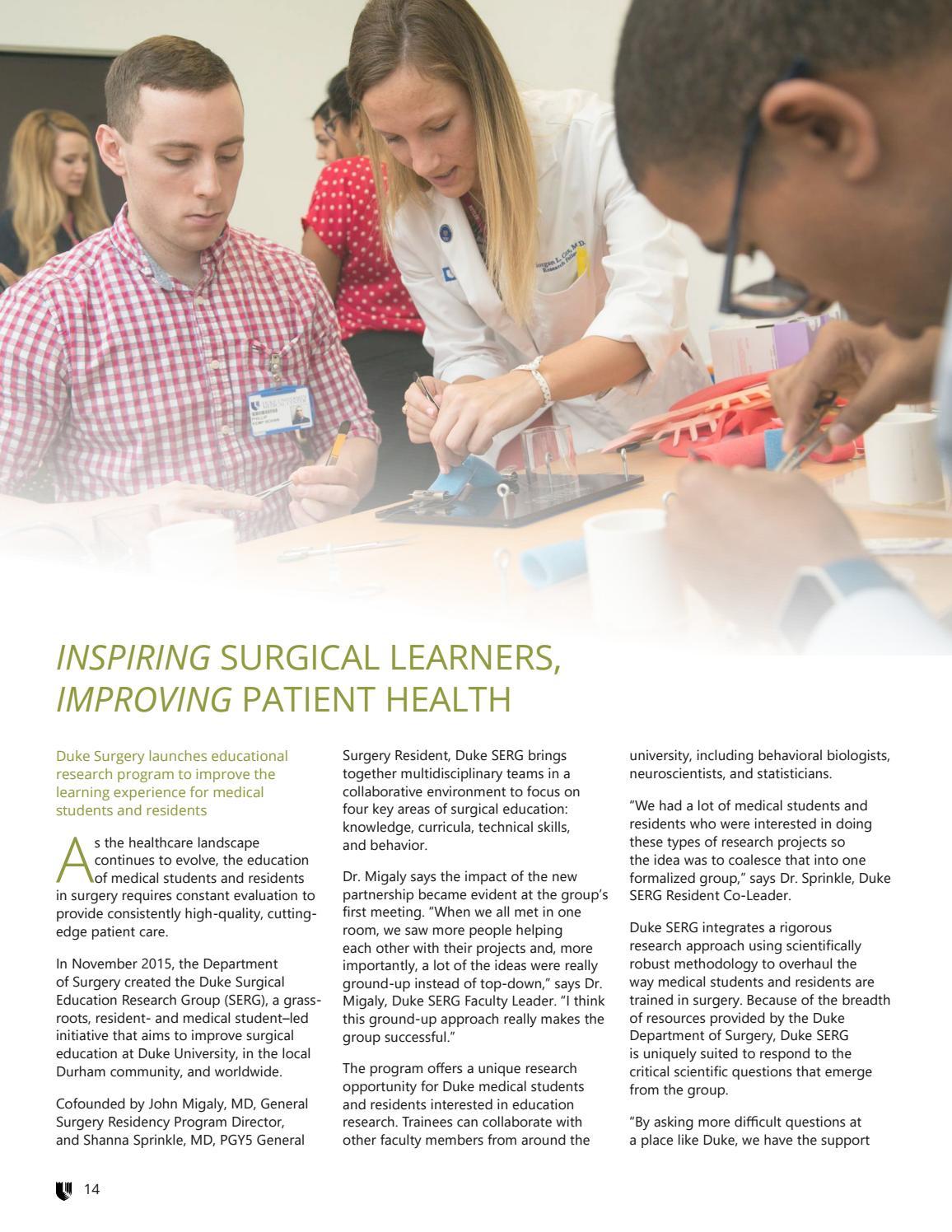 Duke Surgery Newsletter - Spring '18 by Duke Surgery - issuu
