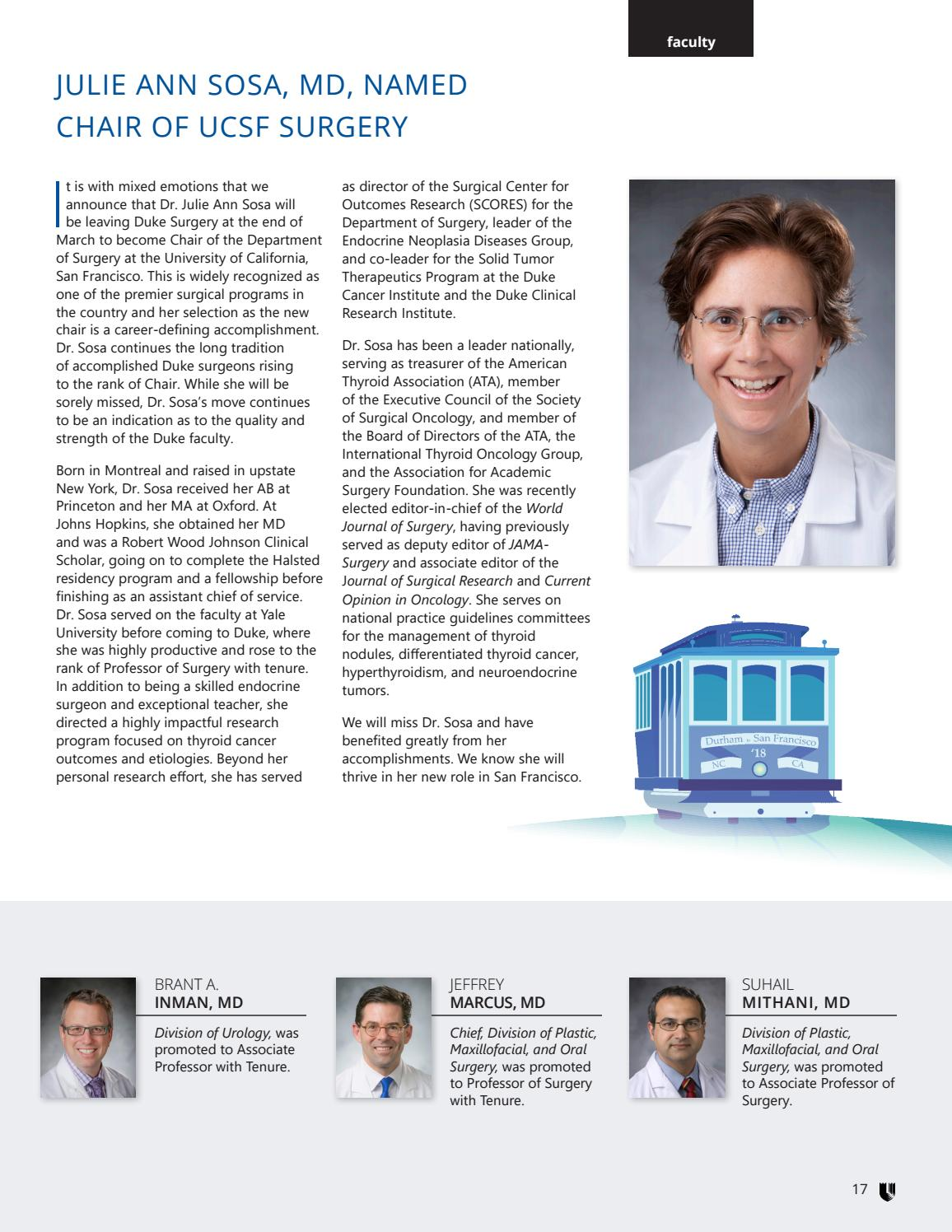 Duke Surgery Newsletter - Spring '18 by Duke Surgery - issuu